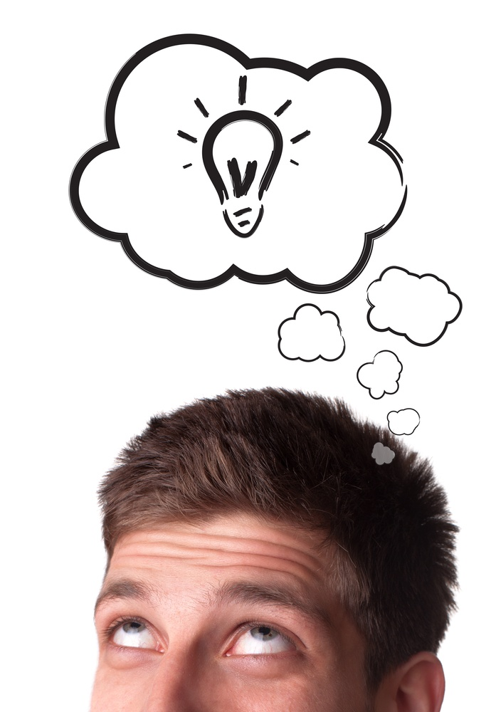 Young man with Speech Bubbles over his head, isolated on white background.jpeg
